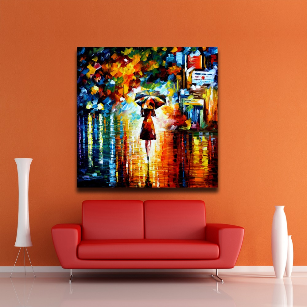 Modern abstract oil painting umbrella girl canvas painting wall art canvas prints women painting - Wall paintings for home decoration ...