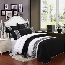 Wholesale of 2014 100% cotton embroidery black and white new bedding set duvet cover flat sheet/bed linen/quilt cover(WDN303)(China (Mainland))