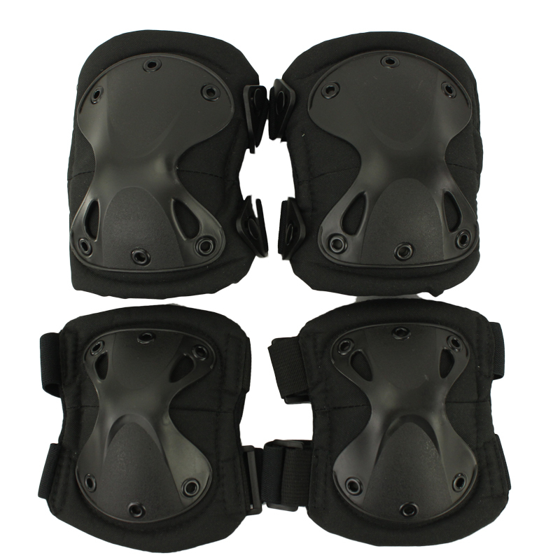New Arrival Durable Airsoft Tactical Knee and Elbow Protector Pads Set Black(China (Mainland))