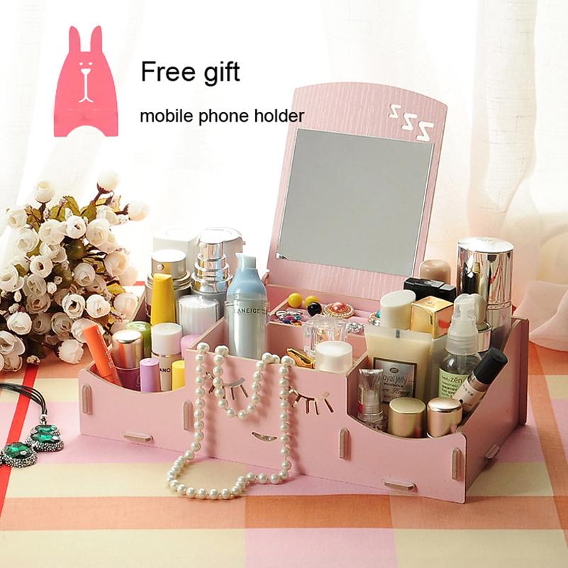 Creative Lovely DIY Wooden Storage Box Makeup Cosmetics Organizer Dressing Jewelry Case Pen Box Mirror Desktop Accessorie Hot(China (Mainland))