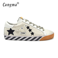 CANGMA Original Italy Deluxe Brand Homme Superstar Shoes Men Genuine Leather Hemp Low Male Casual White
