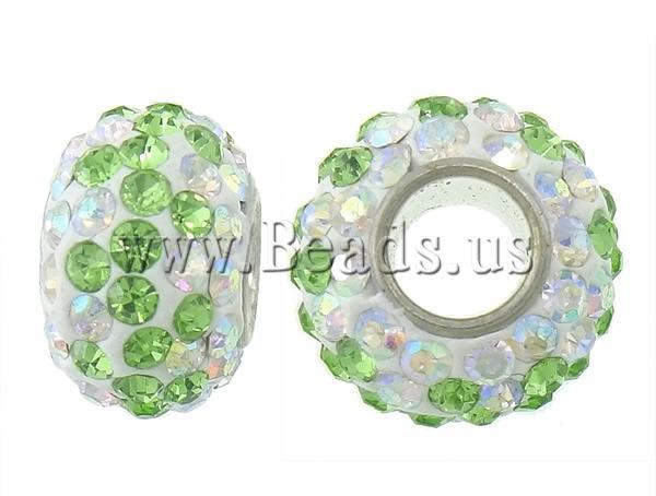 green white color grade rhinestone clay pave brass single core Rondelle European Beads - New Seasons Milky Way Jewelry store