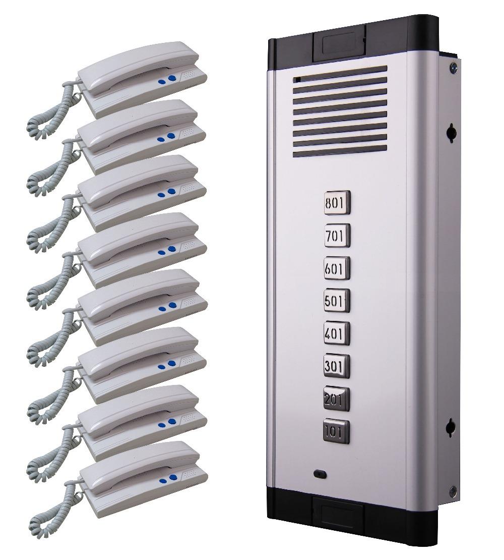 2 wires audio door bell intercom door phone for 8