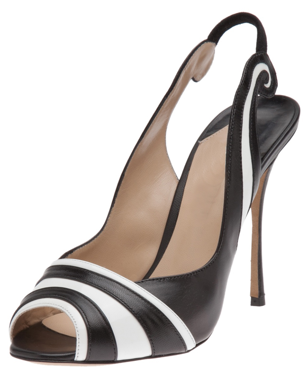 back sandals black and white striped thin high