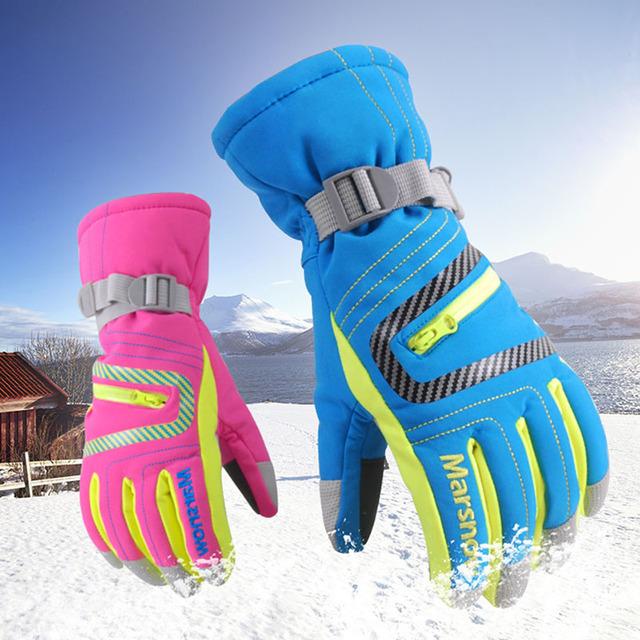 Marsnow зима профессиональные лыжные перчатки девушки парни водонепроницаемый теплые перчатки Рождественский подарок снег дети водонепроницаемые перчатки