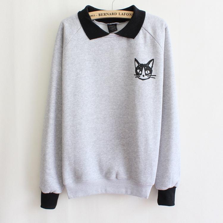 Turn-down collar women hoody Winter fleece warm pullover hoodies cat cotton printed sweatshirts white/gray casual Tops Tracksuit - Hong Kong J&R Trading Co.,LTD store