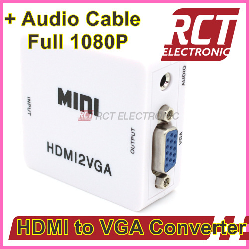 HDMI to VGA Converter 1080P 60Hz VGA Output mini HDMI to VGA with audio for PC laptop to HDTV Projector Free Shipping(China (Mainland))