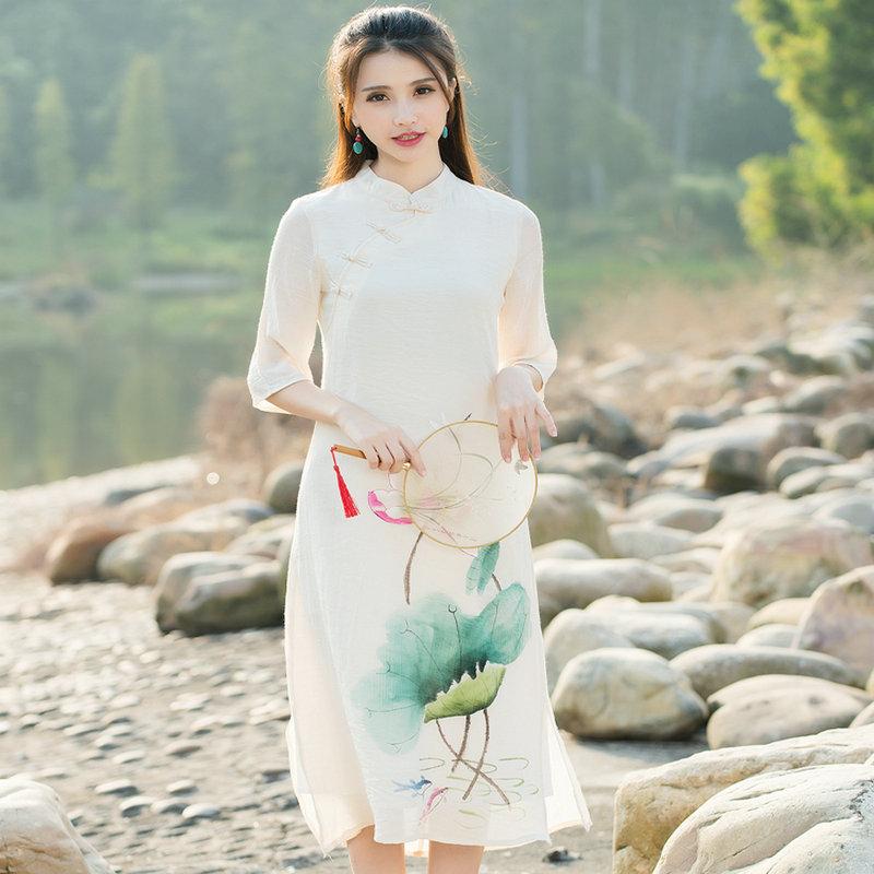 2016 Women New Spring Linen Cotton Seven Sleeve Casual Art Hand-painted Lotus Pattern Split Cheongsam Design Dress(China (Mainland))