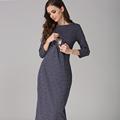 Front Open Nursing Dress For Pregnant Women O neck Maternity Dresses Vestidos Plus Size M L