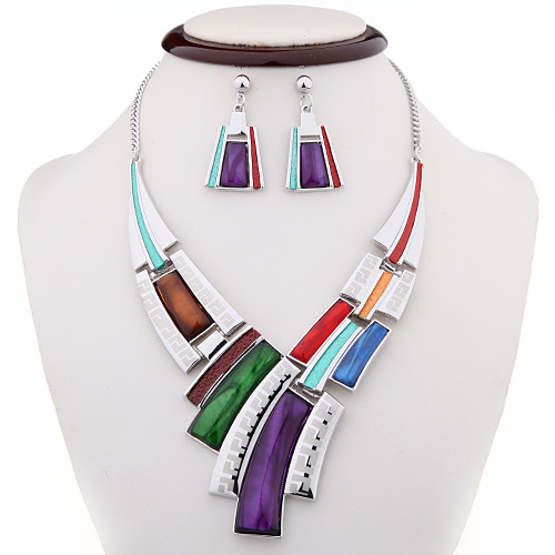 2015 Spring Mixed 5 Colors Zinc Alloy Bridal Woman Jewelry Sets Women Silver Plated Fashion Necklace Earrings - Forever Best store