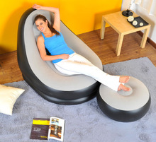 Jilong single person inflatable sofa bed set in living room furniture bean bag sofa 63*29cm include repair patch