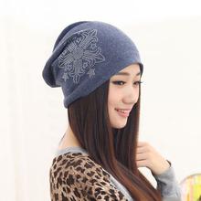 Fall Female Turban Skullies And Beanies Women Winter Cap Diamond Flower Hat Girls Bonnet Slouchy Beanie Hip Hop Hats MZ0581(China (Mainland))