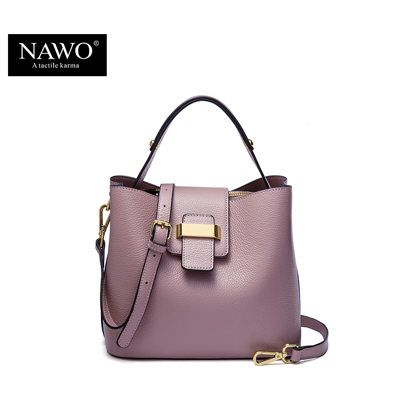 NAWO 2016 Designer Women Leather Handbags Bucket Shoulder Bags Ladies Crossbody Bags Small Cow Real Genuine Letaher Women Bags(China (Mainland))