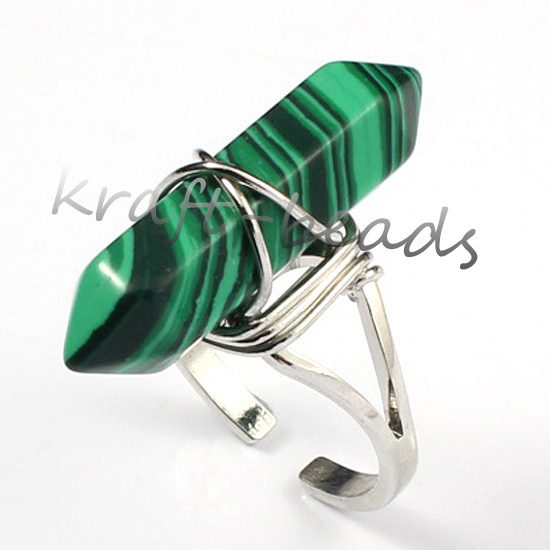 Wholesale 10Pcs Charm Silver Plated malachite Hexagon Beads winding precious stone  Adjustable Finger Ring Jewelry