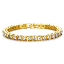 היפ הופ בלינג אייס מתוך מעוקב Zirconia צמיד טניס שרשרת צמידי ריינסטון נשים גברים 1 שורה CZ קישור תכשיטי שרשרת זהב(China)