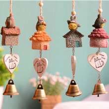 4Pcs Resin Totoro Figurine Wind Chime Pendent Wind Bell Craft Set for Garden Decoration and Window Decor
