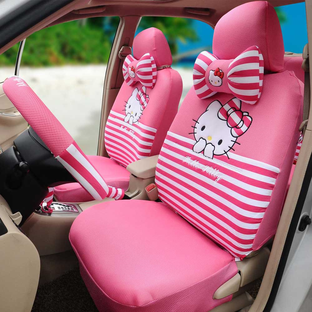 Hello Kitty Car Seat Covers Ice Silk Peach Red 18pcs