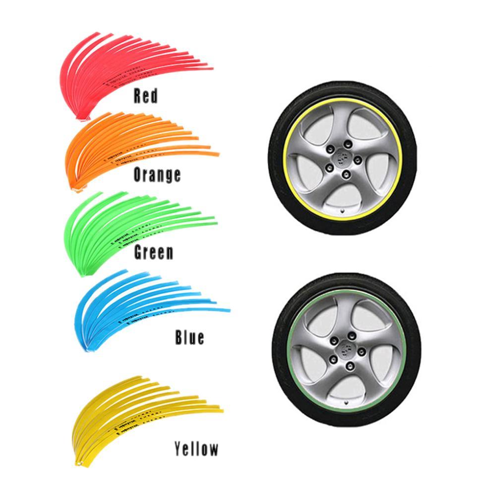 "2015 Best Sale 16 STRIPES 10"" Car Motorcycle Bike Wheel Rim Sticker Tape - orange(China (Mainland))"