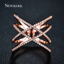 NEWBARK Vintage Double Cross X Shape Rings for Women Zirconia Micro Paved Rose Gold And Gold Plated Jewelry For Christmas Gifts(China (Mainland))