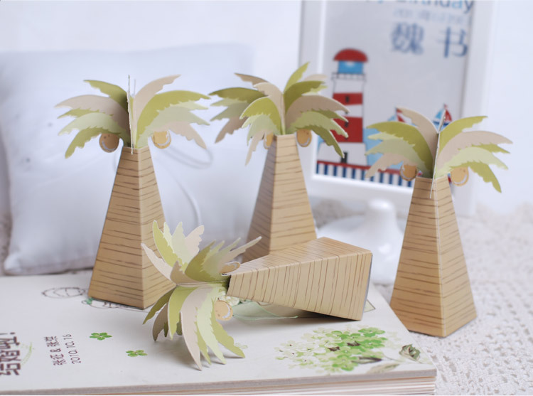 Wholesale creative artificial coconut tree paper candy box for Wedding craft supplies