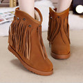 woman snow boots 2016 winter wedges height increase 6cm woman s boots brand genuine leather non