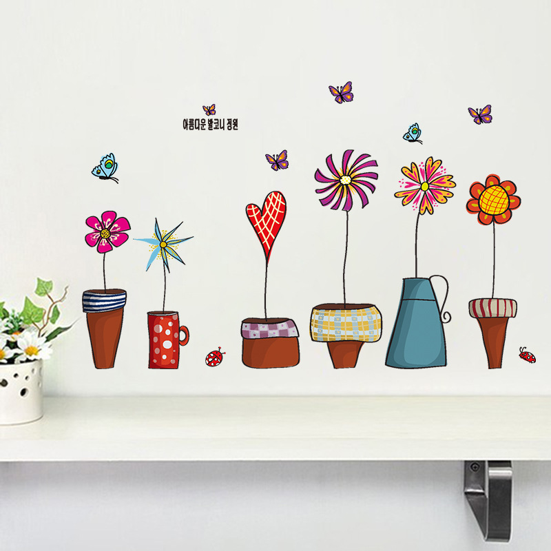 flowerpot butterfly wall cover stickers house decoration 947 diy print mural art plant home decals kids gift living bed playroom(China (Mainland))