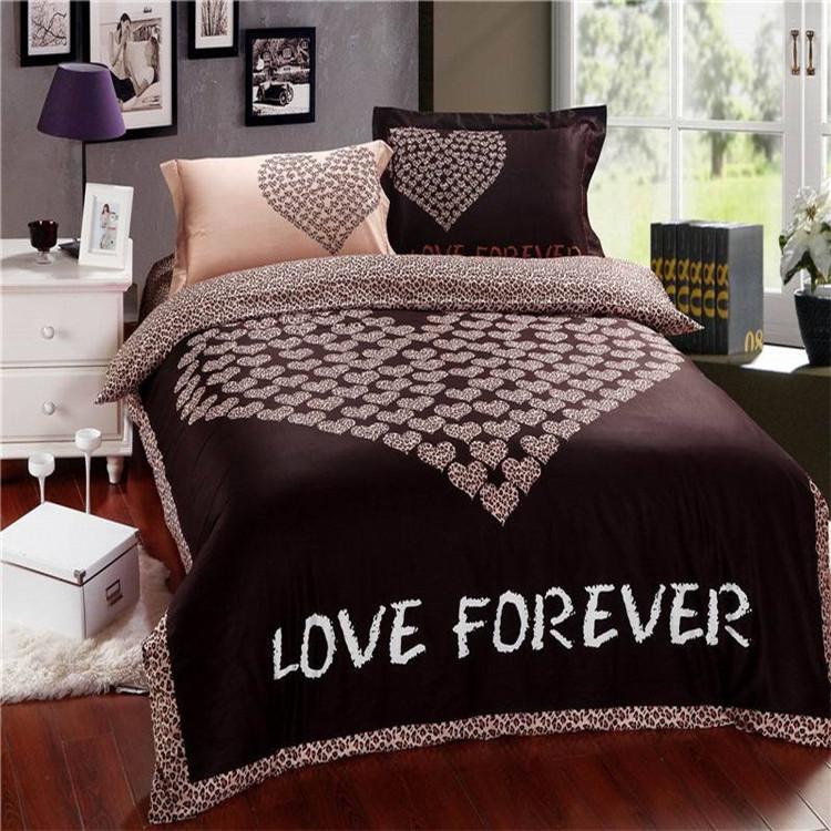 Love forever Wedding Bedding sets Romantic comforter set coffee color leopard print edge bed sheet duvet Cover sets(China (Mainland))