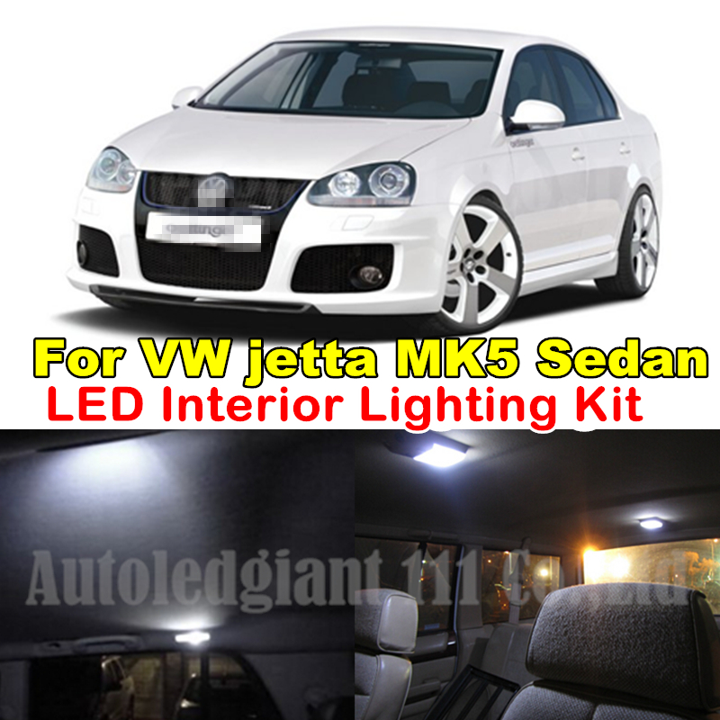 9X Canbus Cold White Vanity Mirrors Dome Light Bulb Volkswagen VW Jetta MK5 V LED Interior Package Kit Sedan 2005-2010 - WLJH Carparts Store store