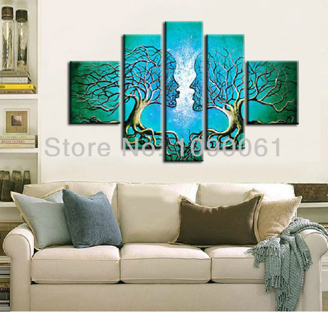 Handmade Abstract Lovers Kiss Tree Canvas Painting