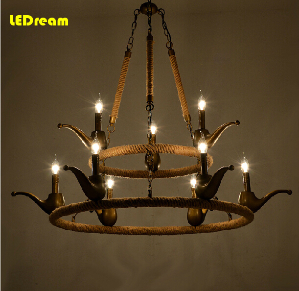 Creative sitting room chandelier American country study bedroom restaurant droplight with restoring ancient ways<br>