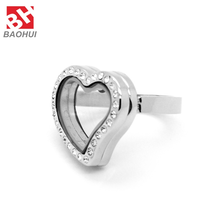 Fashion DIY Gold/Silver/ Rose Gold Heart 316L Stainless Steel Crystal Magnetic Memory Floating Locket Rings Women Jewelry(China (Mainland))
