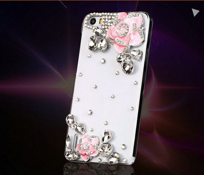 FreeShipping!Customize Top Fashion PC Cover/Case for HuaWei Honor 3C/4C Flower Rhinestone Skins for HuaWei Honor 6/Plus 6X(China (Mainland))