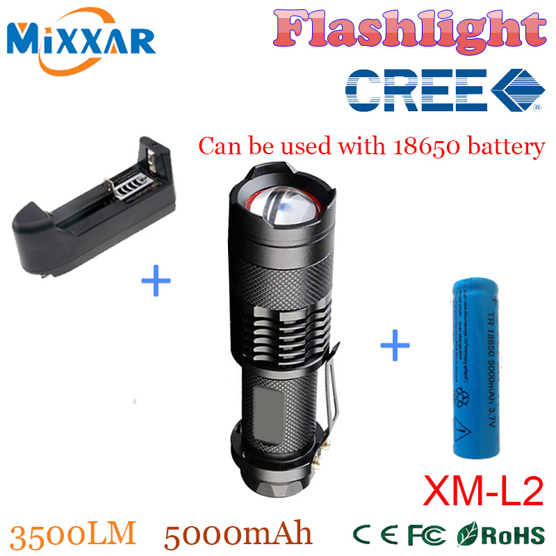 zk50 one 18650 5000mAh Battery Charger 3500LM led Flashlights CREE XM-L2 5-mode Zoomable led lanterna Waterproof Torch(China (Mainland))