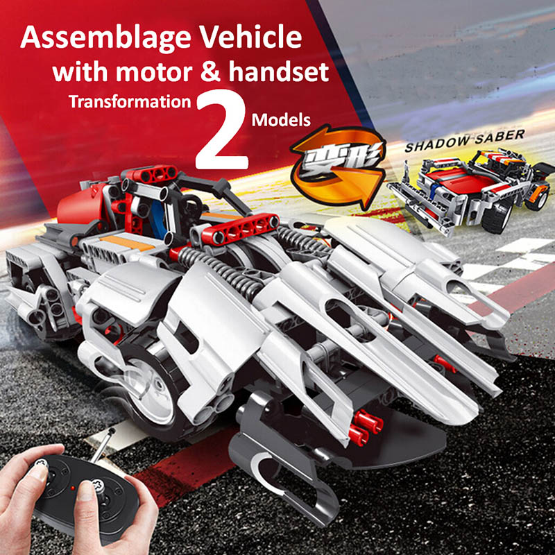 Remote Control Race Truck Electronic Building Block Car 2 In 1 Transformable Model Sets Decool DIY Toys Compatible With Legoe(China (Mainland))