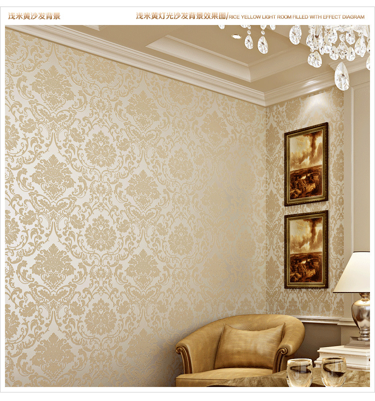 Golden luxury 3d wallpaper bedroom wall papers tv for Luxury 3d wallpaper