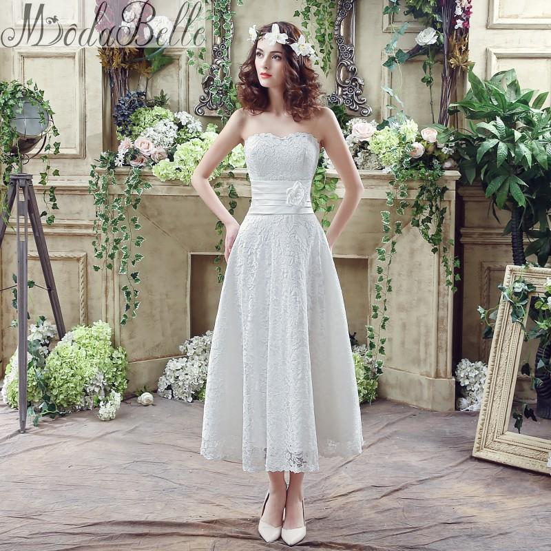 Modabelle 2016 summer white lace sweetheart a line tea for Sweetheart tea length wedding dress