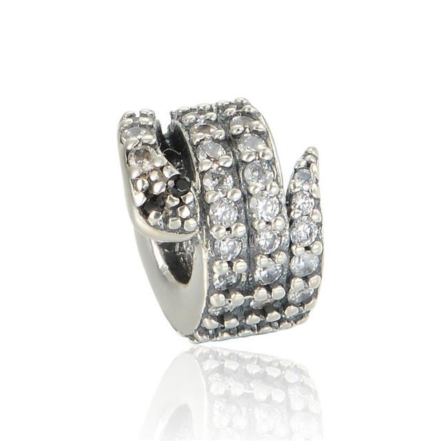 Летний стиль 925-sterling-silver ювелирных изделий CZ камни игристое змея бусины DIY ювелирных изделий подходит известный бренд браслеты