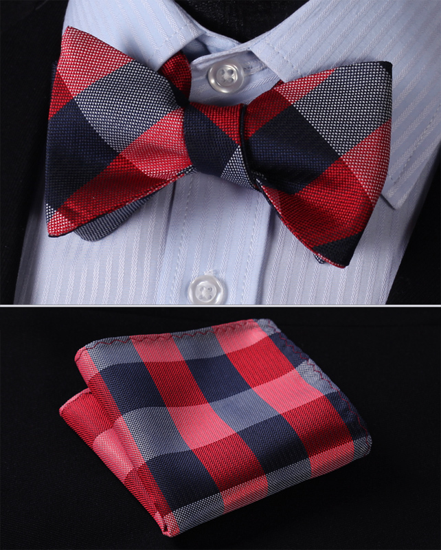 BC4007R Red Navy Blue Check Classic 100%Silk Jacquard Woven Men Self Bow Tie BowTie Pocket Square Handkerchief Suit Set - HISDERN store