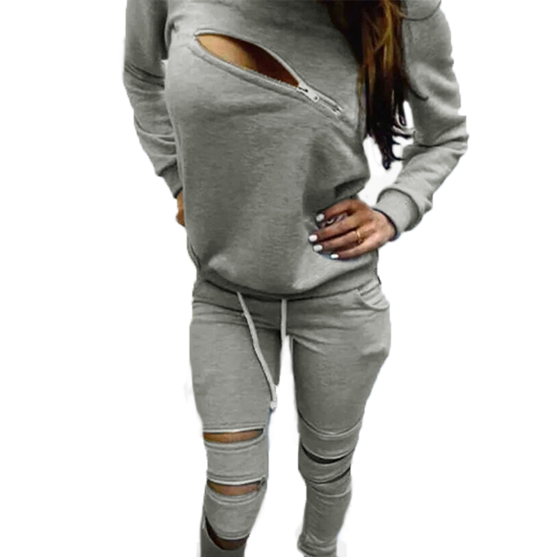 2015 Fashion Women Autumn Sweatshirt Suit Front Zipper O-Neck Long Sleeve Sport Suit Two Pieces Gray Ladies Hoodies Tracksuits(China (Mainland))