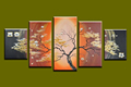 5 panel tree branch Abstract modern decorative canvas wall art picture oil painting sets for living