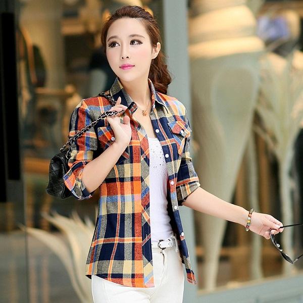 2016 brand fashion women plaid shirt flannel shirt blouses for Best flannel shirt brands