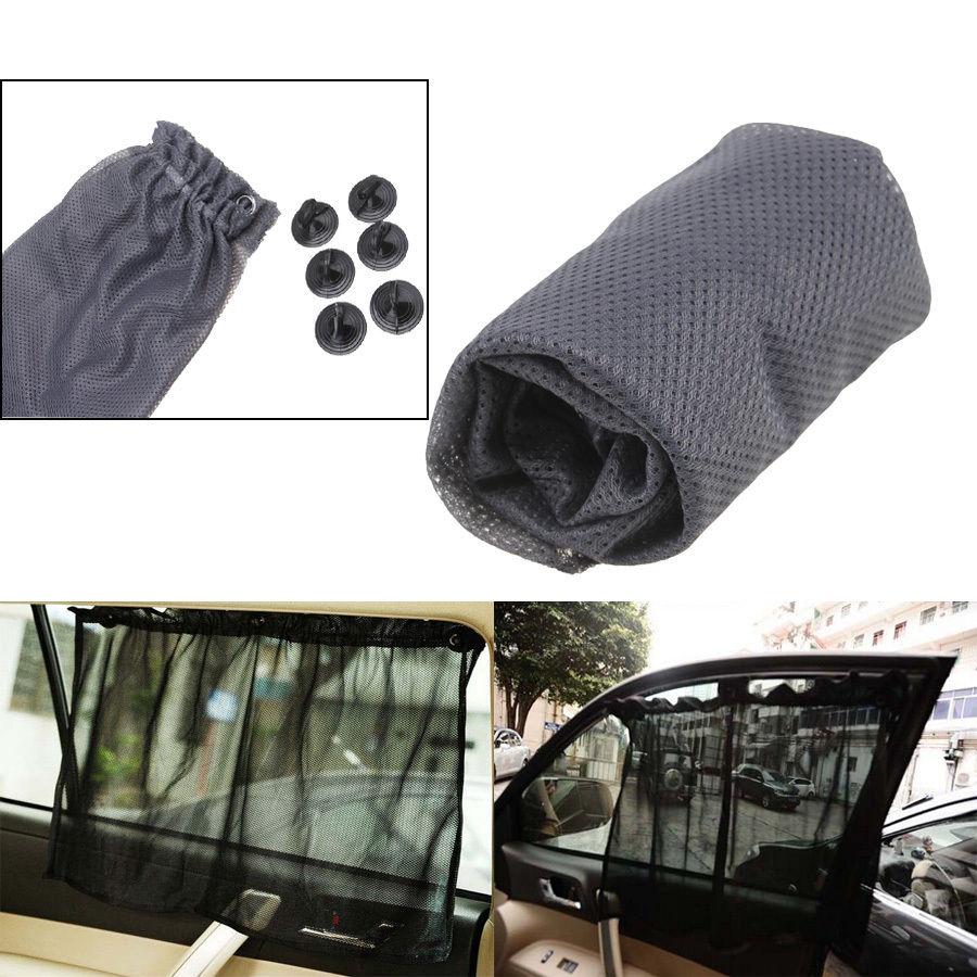 Car Van Truck Interior Suction Side Window Sun Shade Curtain UV Protection Black/Grey/Brown Car Styling(China (Mainland))