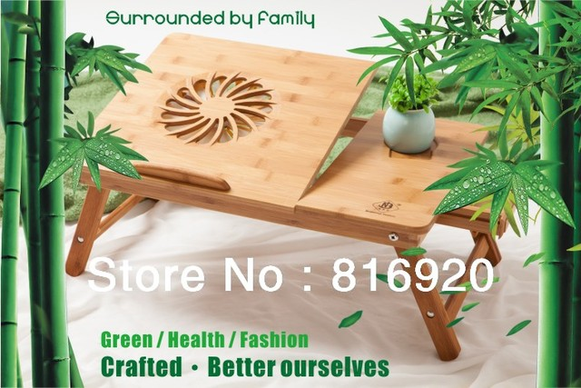 New arrival Folding laptop desk, high quality classic bamboo folding laptop desk with USB fan.