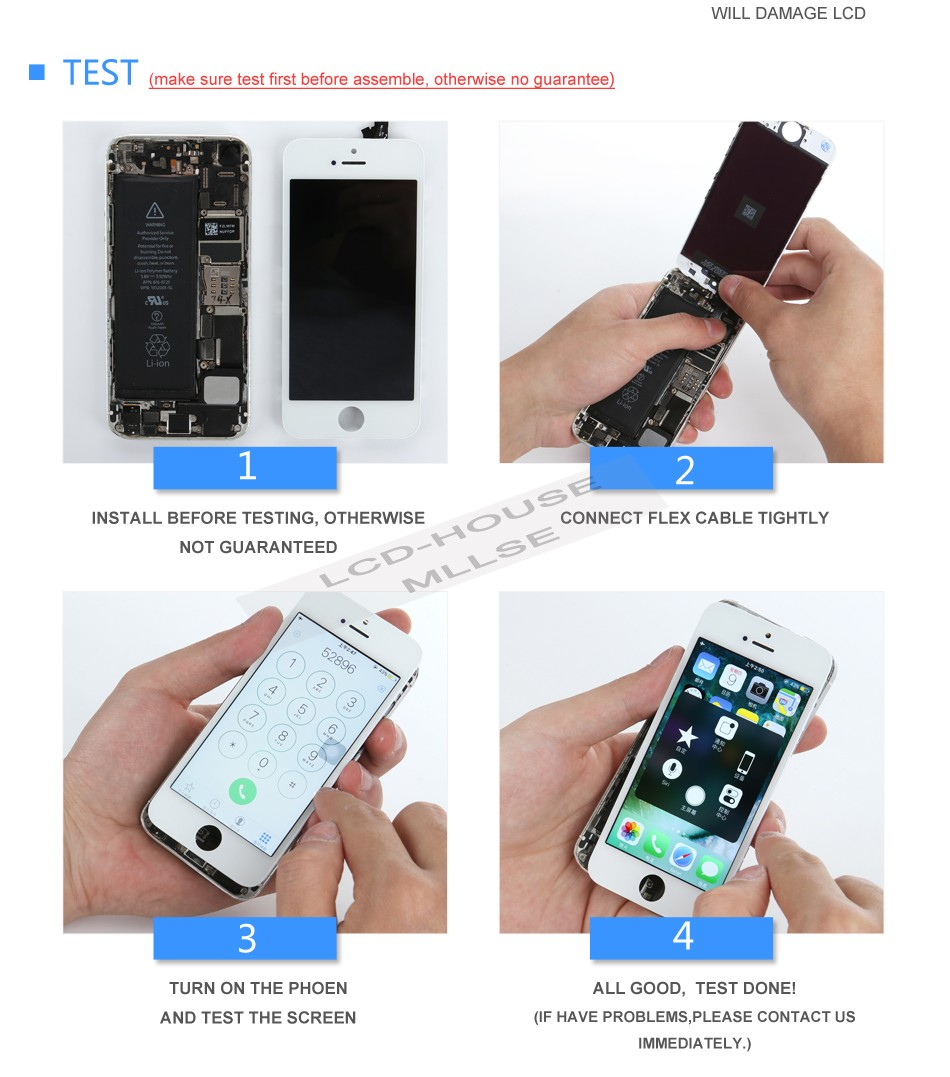 1 piece For iPhone 5c 5g 5s Lcd Display Digitizer Touch Screen Panel  Replacement Grade AAA Clone Free Gift Alibaba Highscreen - us340