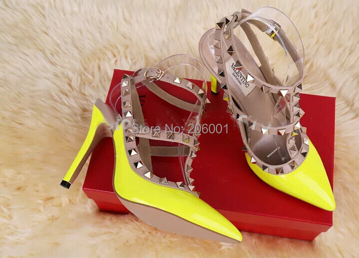 2015 V Brand Designer Ankle Strap Genuine Leather Two Belts Poined Toe Women Pumps Fashion Rivets High Heels Shoes US 4-11 - Angel love The World store