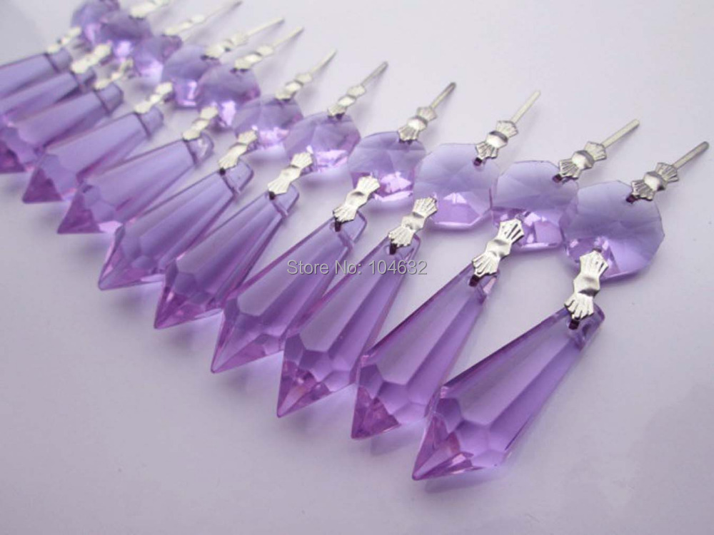 30 Purple Chandelier Glass Crystals Octagon beads Healing Lamp Prisms Parts Hanging Drops Pendants 3.2 inches<br><br>Aliexpress