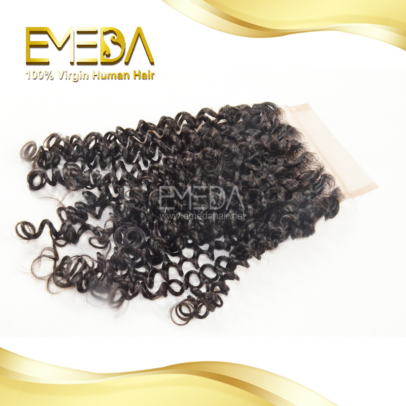 6A Free Shipping Malaysian Lace Closures Kinky Curly Cheap Lace Closure 4*4 Middle 3 Way Free Part Bleached Knots Natural Hair(China (Mainland))