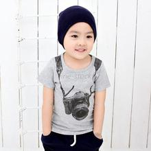Korean foreign trade children cotton printing children's cartoon camera sleeved T-shirt Children Outwear T-shirt Free Shipping