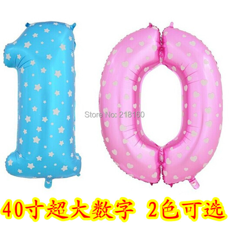 Foil number Balloons 40 inch Large star & heart Party&Birthday Supplies 0-9 U Choose - Party store