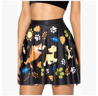 European Brand Designer Women Skirt Lovely Animal Printed Casual Mini Ladies Vintage Black Slim Pleated - Fashion World's store